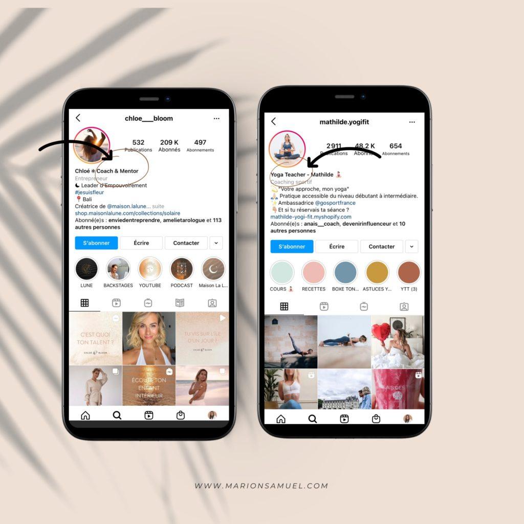 exemple de bio Instagram Chloé Bloom et Mathilde Yogifit